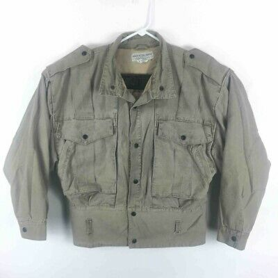 $34.95 • Buy Made In The Shade Mens Cargo Jacket Gray Pockets Lined Snap Up Miltary Vintage S