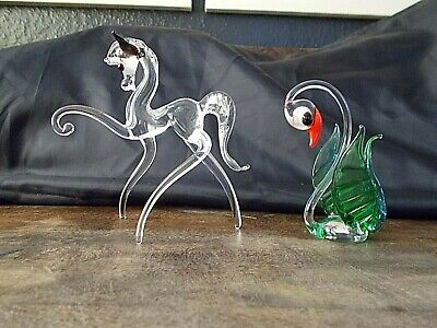 Vintage Murano / Venetian Glass Swan & Glass Horse - Excellent Condition. • 7.99£