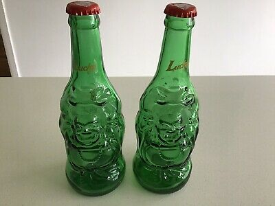 Lucky Buddha Beer Bottles. Pair Of (2) Glass Buddha Ornaments. Candle Holders • 4£