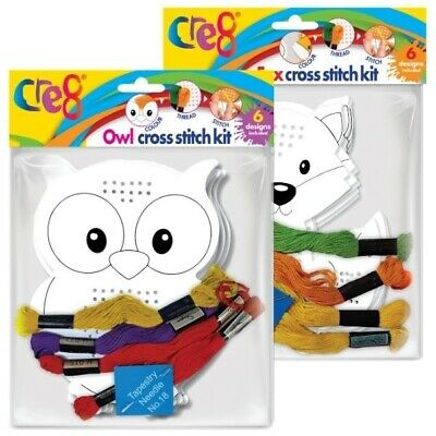 £2.35 • Buy Beginners Cross Stitch Childrens Activity Kit Sewing Colouring Fox Or Owl Set