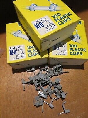 Tower 10mm Cable Clips - Flat T&E - Grey- 3 Box Of 100 + 80 Free • 18£
