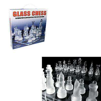 £13.49 • Buy Chess Game Glass Board Set Traditional Game Chess Board Draughts Set Party Fun