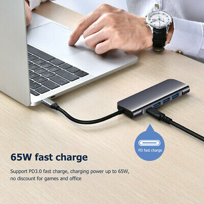 AU28.68 • Buy USB C Hub For Laptop PC 5 In 1 Type C Dongle To USB 3.0 65W PD 4K HDMI Adapter