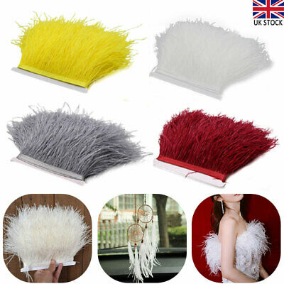 £6.49 • Buy 4 Colour 1M Quality Ostrich Feather Fringe Trim For Millinery Hat Craft Dress UK