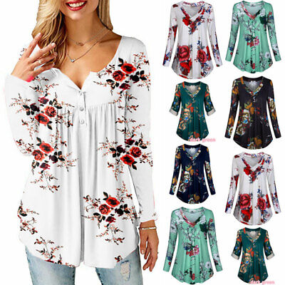 Womens Floral Print V Neck T-shirt Tunic Tops Ladies Spring Casual Loose Blouse • 11.86£