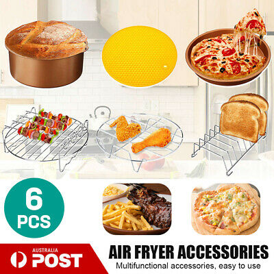 AU21.56 • Buy 6Pc/Set 7''Air Fryer Frying Cage Dish Baking Pan Rack Pizza Tray Pot Accessories