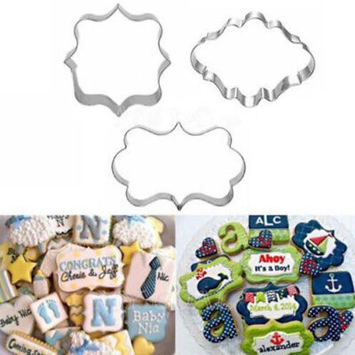 3Pcs Stainless Steel Fancy Plaque Frame Mould Cookie Cutter Fondant Cake #X1 • 4.69£