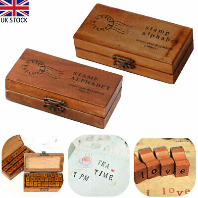30 Piece Retro Alphabet Letter Uppercase Lowercase Wooden Rubber Stamps Set UK • 8.42£
