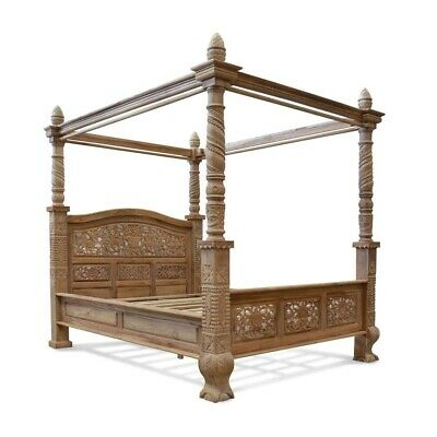 £2300 • Buy 6' UK Super King Teak Wood  French Style Four Poster Floral Canopy Bed