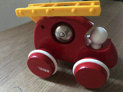 Brio Wooden Bell Fire Engine Car Push Along Baby Toy - Good Condition • 3.50£