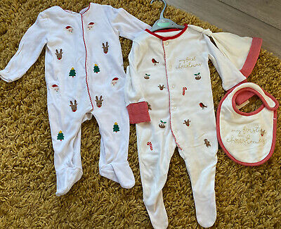 2 Baby's My First Christmas White Embroidered Babygrows & Hat Age 3-6 Months • 3.20£