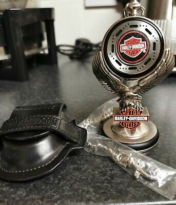 Harley Davidson Heritage Softail Pocket Watch + Eagle Stand + Belt Case Holder.  • 39.99£