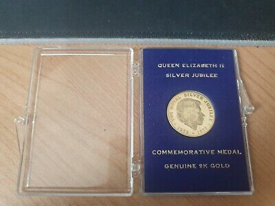 Queen Elizabeth Silver Jubilee 9k Gold Medal Cased 2.4 Grams 9 Carat Gold  • 39.99£