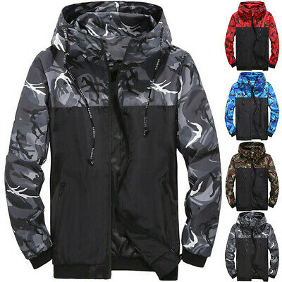 Young Camouflage Printed Hooded Jacket Outdoor Sports Top Waterproof Outwear UK • 12.88£