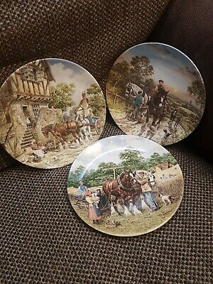 3 Collectables Plates Wedgwood Life On The Farm John Chapman Binding Corn 1988 • 6.90£