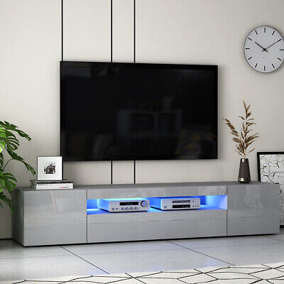 Large Grey 200cm TV Unit Cabinet High Gloss Fronts Storage Cupboard LED Lights • 43£