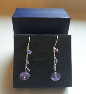 Vintage Dower & Hall Sterling Silver Amethyst Bead  Drop Earrings With Box • 29£