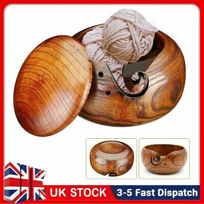 Wooden Yarn Bowl Holder Knitting Crochet Yarn Wool Container Storage With Lid • 14.99£