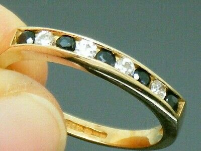 9ct Gold Sapphire Hallmarked Eternity Ring Size L • 109£