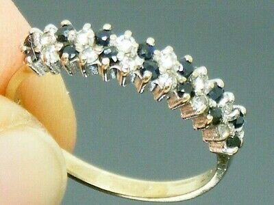9ct Gold Sapphire Hallmarked Eternity Ring Size M • 109£