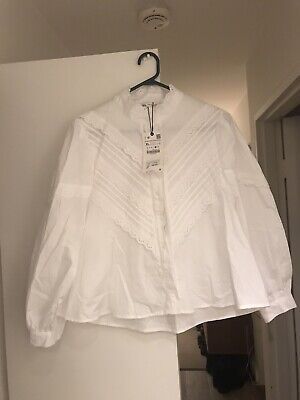 AU20 • Buy White Cotton Lace Trimmed Blouse W Long Puffy Sleeves- Sz XL .NWT