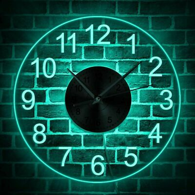 Illuminated LED Wall Clock Arabic Numeral Lighted Hanging Living Room Home Decor • 66.72£