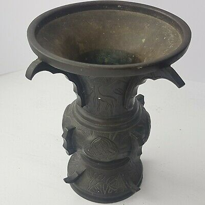Antique Early 19th Century Chinese Bronze  Gu  Vase.  • 40£