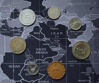 Coin Hunt Collectible Mixed Lot Of 7 Unknown Arabic Coins Oman Iraq Egypt Muscat • 3£