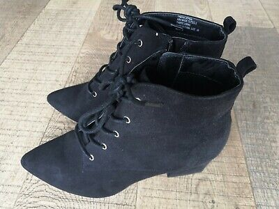 New LONDON REBEL  Sheila  Black Faux Suede💙 Ankle Boots Size 6 • 29.99£