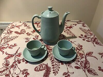 Woods Ware Beryl Green Coffee Pot With 2 Espresso Cups & Saucers  • 14.99£