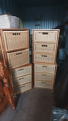 4 X Sets Of Rattan And Wood Drawers • 50£