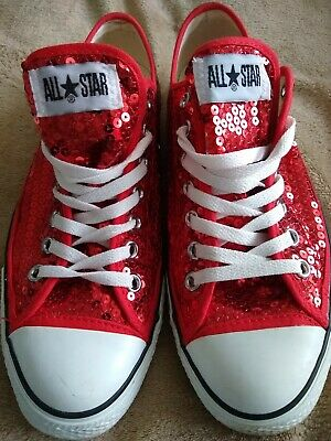 Red Sequin Converse All Star Low Pumps EUR42.5 UK9 • 21.21£