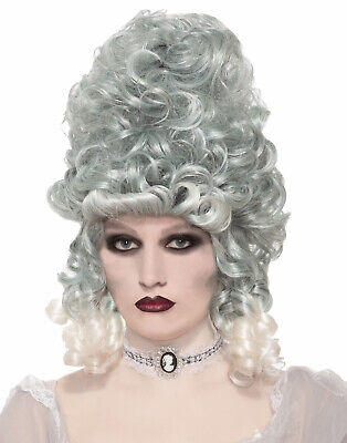 Victorian Southern Grey Silver Curly Ghost Zombie Bride Costume Wig • 20.01£