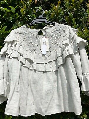 AU30 • Buy Brand New – Zara – Very Soft Cotton Top Embroidered With Pearls – Size L