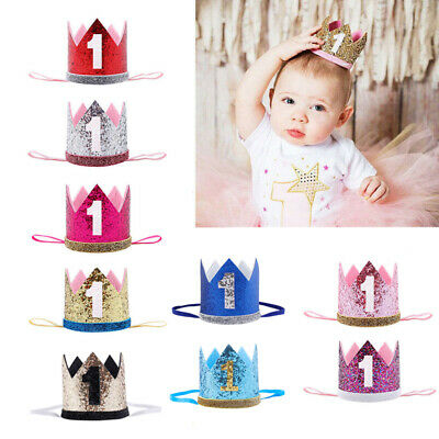 First Birthday Party Hat For Baby Girl Flower Princess Crown Decor Baby Hats Cap • 3.29£