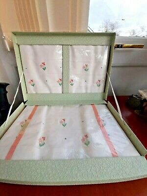 Vintage Boxed Irish  Linen Pillow Cases And Bolster Set White Floral Embroirdery • 4.20£