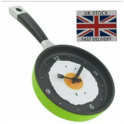 Green Kitchen Novelty Frying Pan Egg Clock Plastic Wall Hanging Quartz Xmas Gift • 7.99£