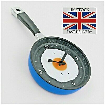 Blue Kitchen Novelty Frying Pan Egg Clock Plastic Metal Wall Hanging Quartz Gift • 7.99£