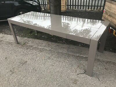 £190 • Buy Dwell High Gloss Grey Stone Double Extending Dining Table 6-10 Person RRP £899