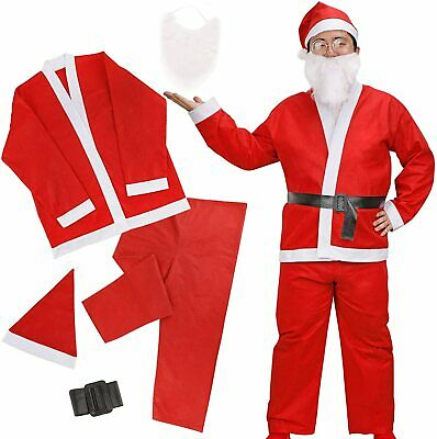 £4.98 • Buy Fancy Dress Budget Outfit Christmas Santa Suit Adult Claus Father Costume Hat