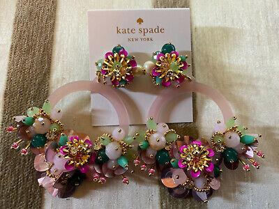$ CDN191.37 • Buy NWT Auth Kate Spade Pink Summer Flower Blooming Earrings Green