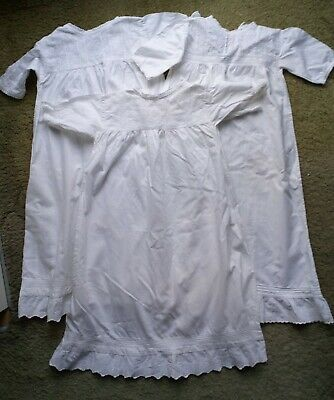 Vintage Traditional Cotton  Christening Gown Trimmed With Broderie Anglaise 1 • 18£