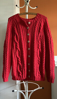 Hand Knit Chunky Cable Knit Red Cardigan Relax Slouchy Fit Size Large • 18£