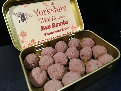 Yorkshire Wild Flower Bee/Seed Bombs In A Gold Tin. • 5.85£