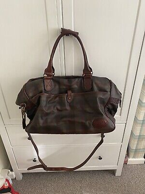 £495 • Buy Mulberry Leather Classic Check Pattern Zip Large Holdall Weekend Shoulder Bag