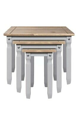 Corona Nest Of Tables Light Grey Pine Three Piece Set Lamp Side End Table  • 98£