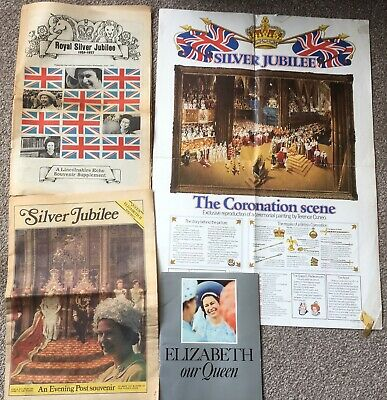 Queen Elizabeth II Silver Jubilee 1977 Booklet, Newspaper Supplements & Poster • 1.95£