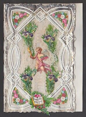 C1870 Paper Lace And Applique Valentine. Friendship Offering  Cupid Centr(GV78)  • 3.75£