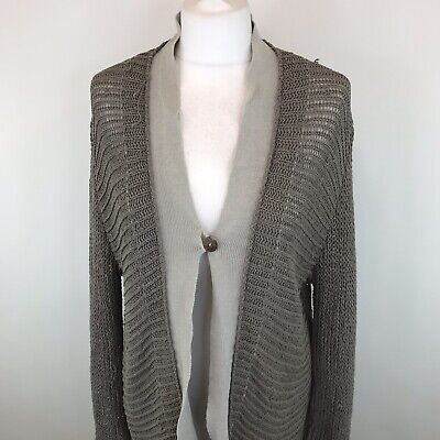 Sarah Pacini Knitted Cardigan Linen Blend Made In Italy One Size Womens  • 22.99£