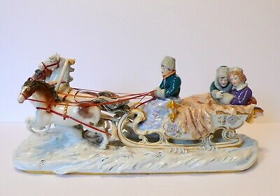 $ CDN475 • Buy Extra Large Kister Scheibe-Alsbach Germany Troika Porcelain Figurine Winter Ride